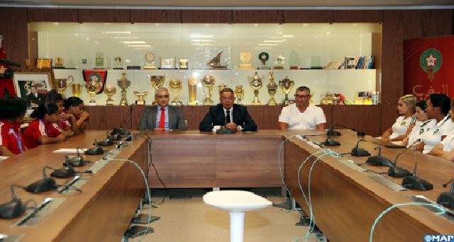 Une réception organisée en l'honneur de la sélection marocaine féminine de football, médaillée de bronze aux Jeux africains