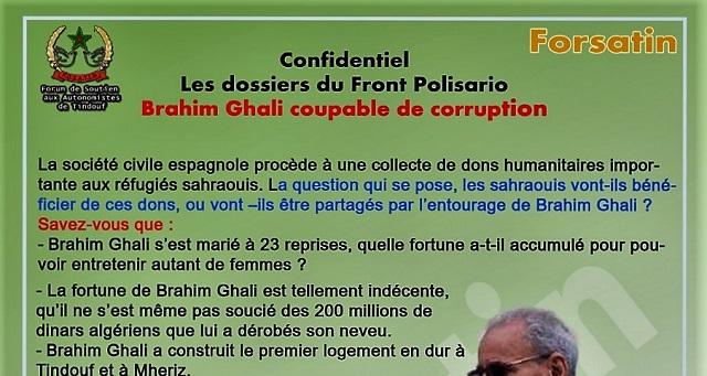 Le Forum de soutien aux autonomistes de Tindouf met à nu les manigances de Brahi Ghali et son entourage dans le détournement des aides