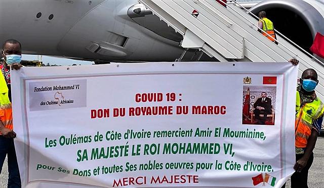 Solidarité sud-sud anti-Covid-19: Suivant les instructions royales, acheminement réussi de l'aide médicale à Abidjan, capitale de la Côte d'Ivoire