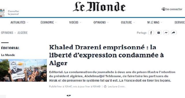 Journal ''Le Monde'': La condamnation du journaliste algérien Khaled Drareni est un aveu de faiblesse d'un pouvoir obsédé par sa survie''